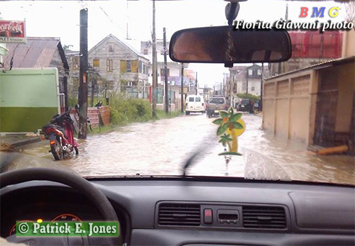 Belize City streets flooded