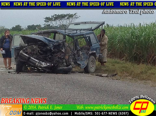 SUV is extensively damaged