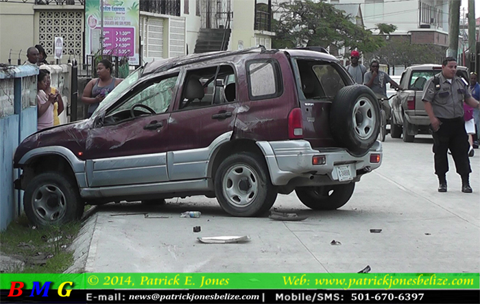 Vehicles crash in Belize City