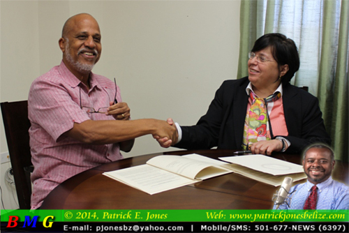 PM Dean Barrow & Gina Montiel (Government Press Office photo)