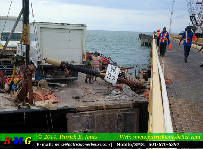 Damage from the barge ramming the pier