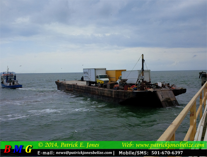 Barge rams pier (Belize City)
