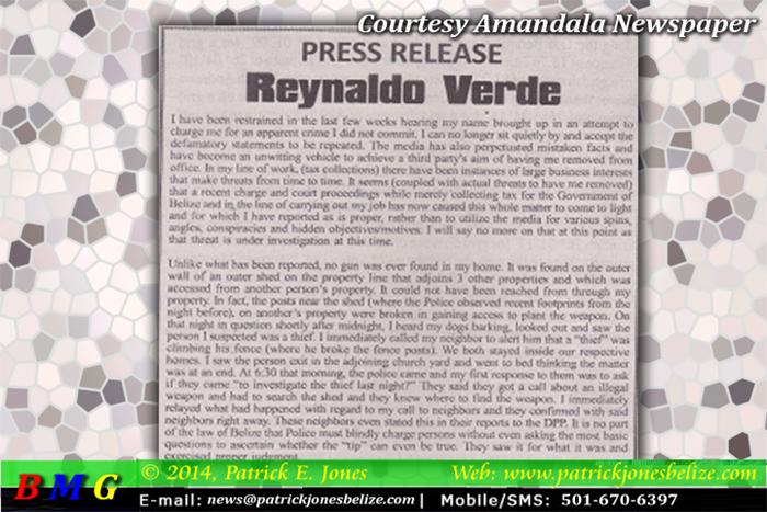 Reynaldo Verse press release