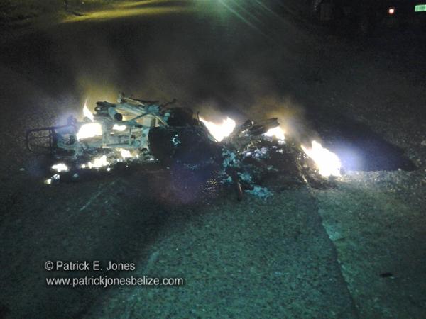 Burning Motorcycle (Georgeville, Cayo)