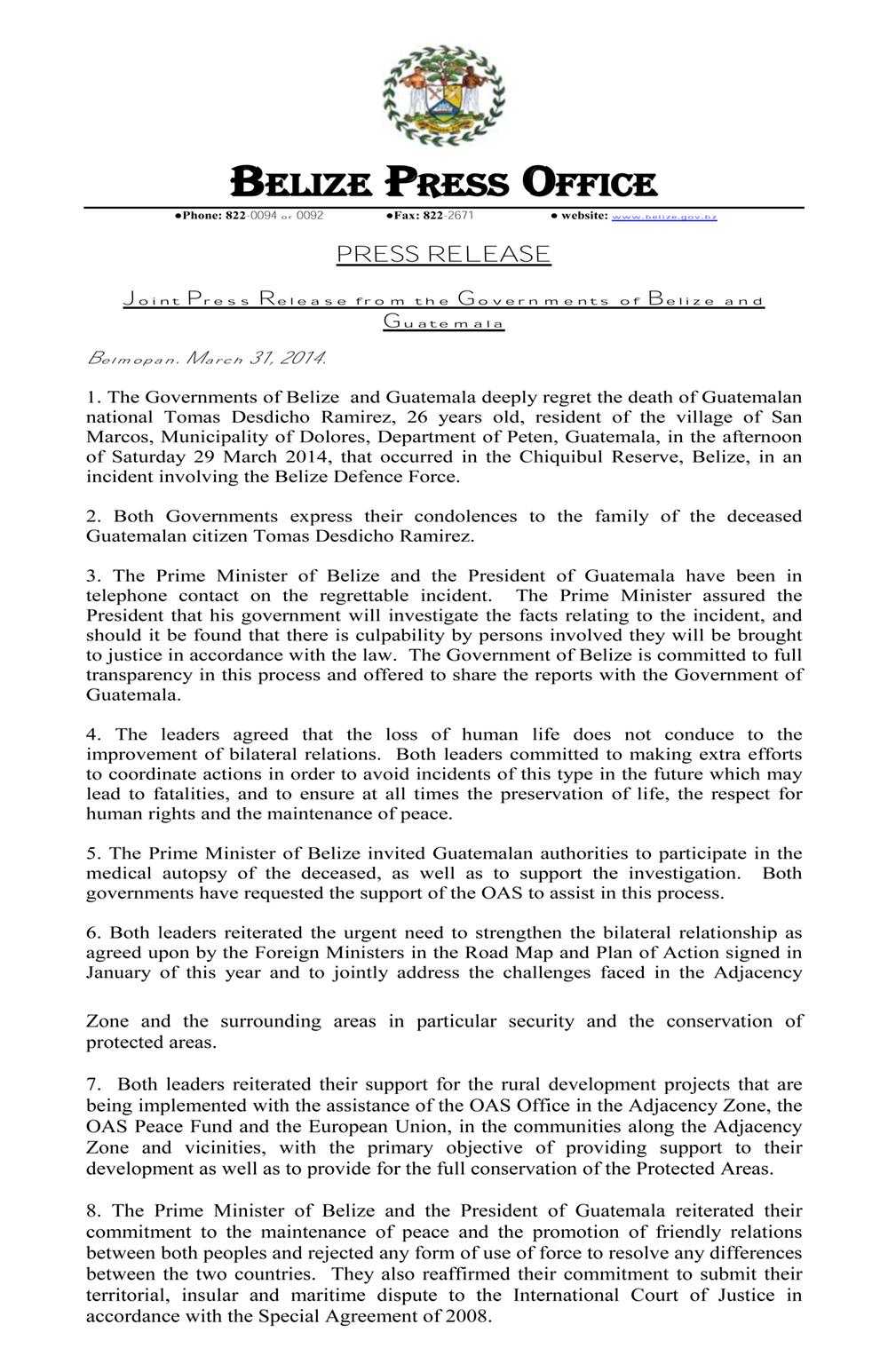 Joint Statement (Belize & Guatemala)