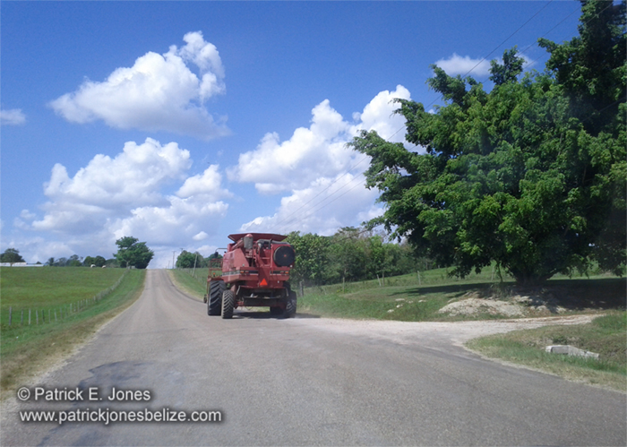 Tractor on the way to the field (Spanish Lookout)