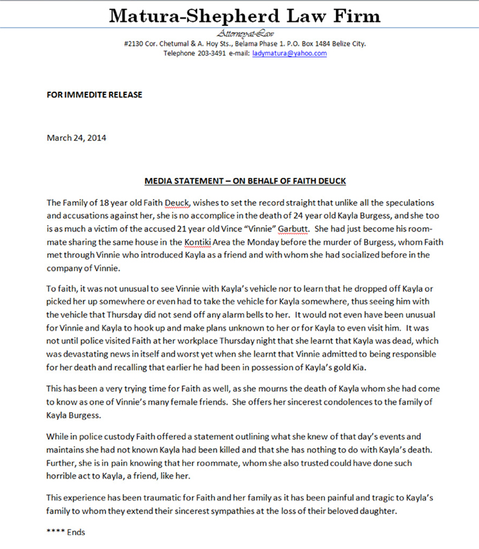 Media Statement (Dueck Family)
