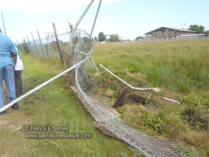 Damaged MOW compound fence (Punta Gorda)
