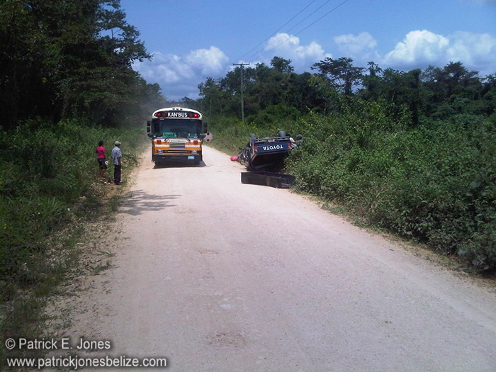 Overturned truck (Blue Creek road, Toledo)