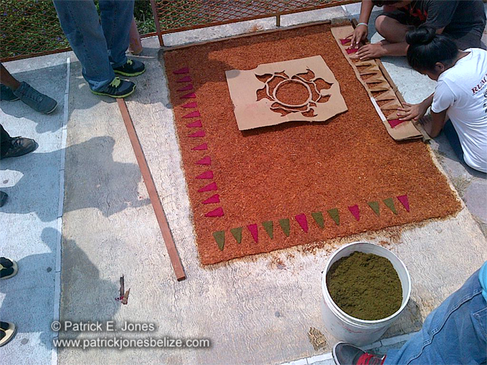Sawdust carpet for Easter (Orange Walk town)