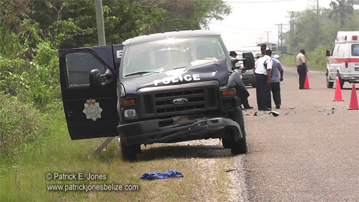 Police van crashes (Phillip Goldson Highway)