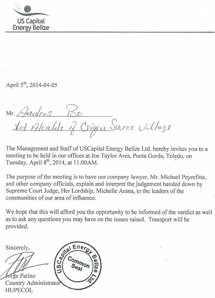 Letter from US Capital Energy (Toledo)