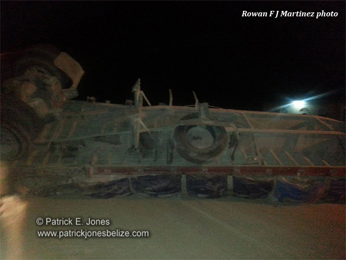 Cemet Truck overturns (Corozal)