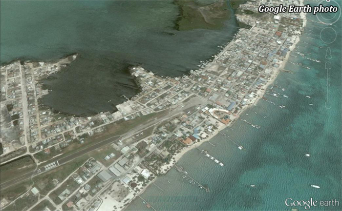 San Pedro town (Google Earth photo)