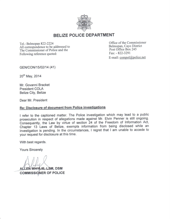Cola Demands Penner File From Police Commissioner Belize