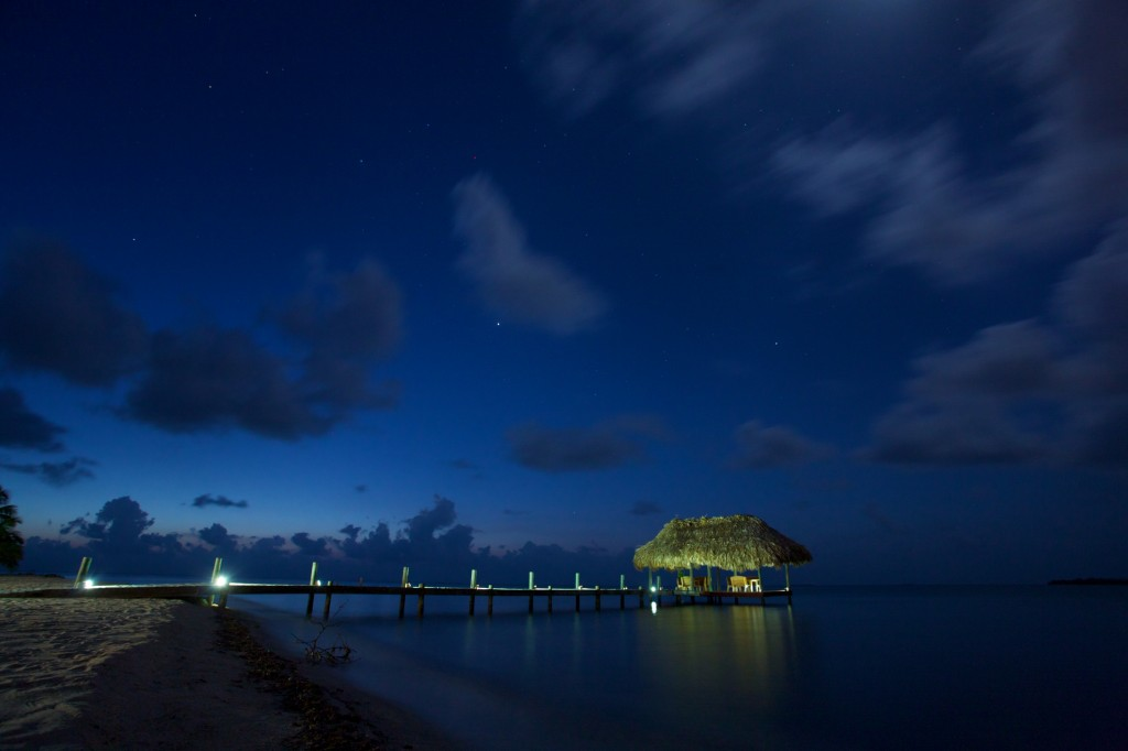 Chabil Mar Belize Resort Night Scene Pier and Stars