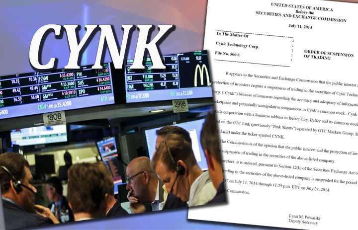 SEC suspends CYNK trading