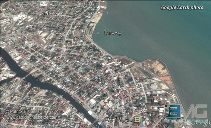 Belize City map (Courtesy Google Earth)