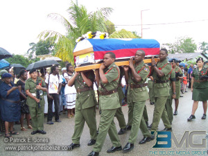 Soldiers carry Paul Nabor's casket.