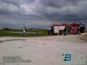 Fire truck at open water source