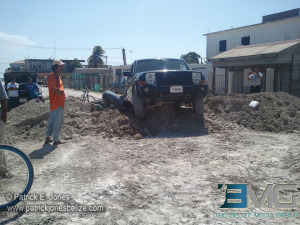 SUV stuck on Corozal street