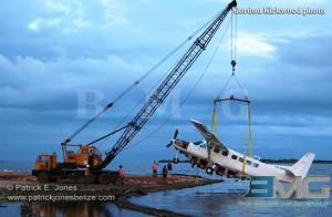 Retrieving the plane from the Caribbean Sea