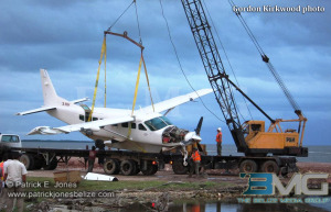 Plane hoisted out of the water