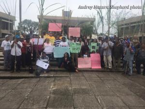 Demonstrators in Belmopan