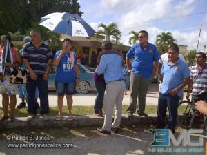 Supporters greet Mr. Briceño