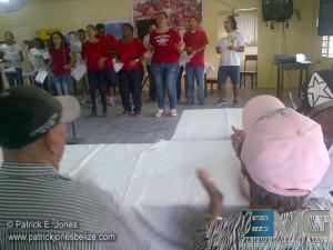 Youth entertaining senior citizens
