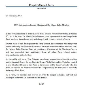 PUP statement
