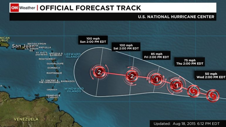 Tropical Storm Danny is forecast to become a hurricane by Thursday, August 20, 2015. The storm currently is about 1,600 miles off the Windward Islands and is moving west at about 12 mph.