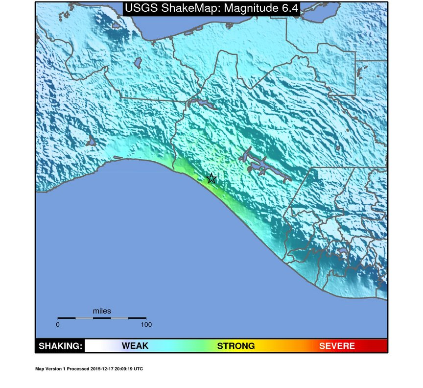 Map of earthquake