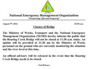 CLOSURE OF BRIDGE