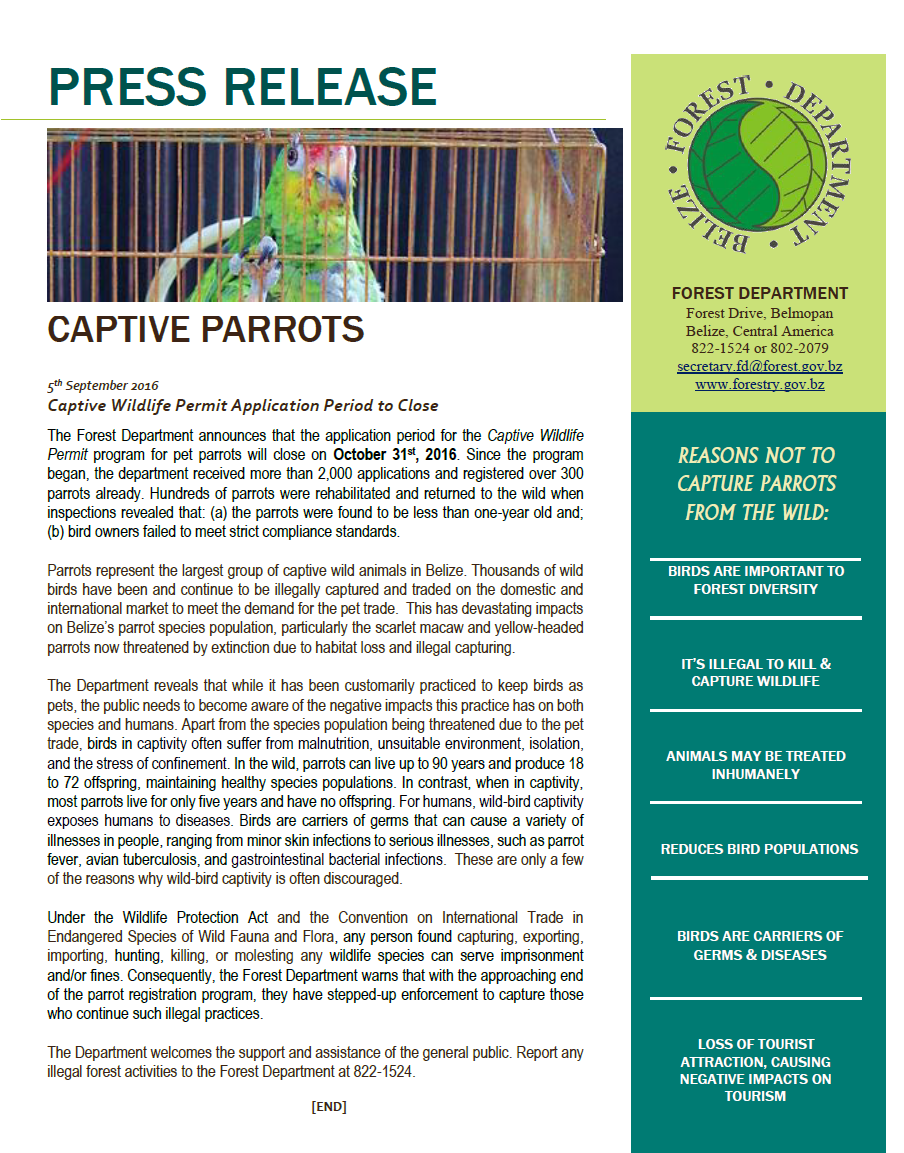 press release parrot