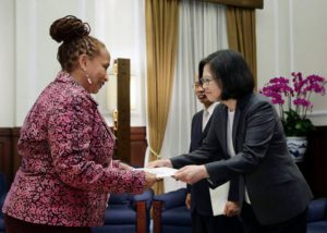 Ambassdor of Belize to the Republic of China (Taiwan) presents credentials to President