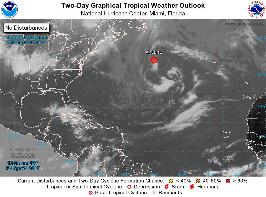 Tropical Storm Arlene forms in Atlantic