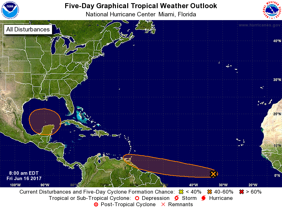 Tropical storm Bret develops in the deep tropics of the Atlantic