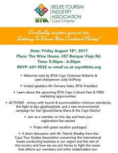 BTIA Cayo invites you to its Cocktail Party