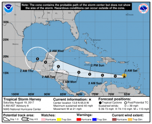 Harvey continues to move west