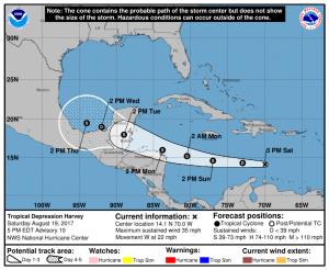 Harvey weakens to Tropical Depression