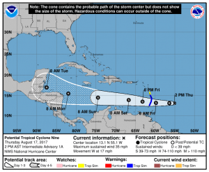 Tropical cyclone could become hurricane in east of the Caribbean