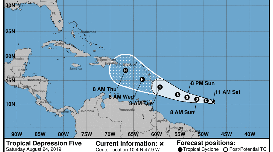New tropical depression forms in the East-Southeast of the Lesser Antilles