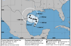 Tropical Depression near Gulf of Mexico forecasted to become Tropical Storm today