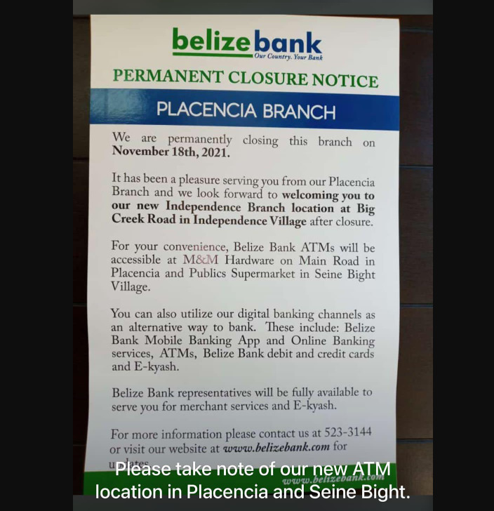 Belize Bank Placencia Branch closes permanently next month